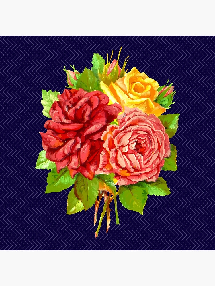 Red Pink And Yellow Rose Bouquet Blue Background Art Board Print By Silverharp Redbubble