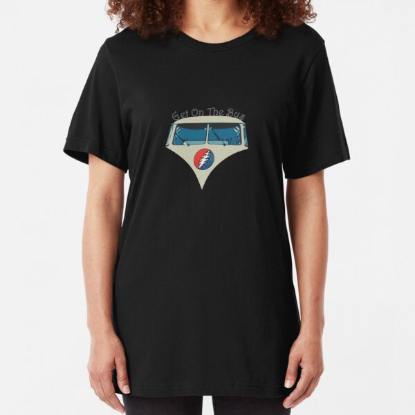 Get On The Bus with text Slim Fit T-Shirt
