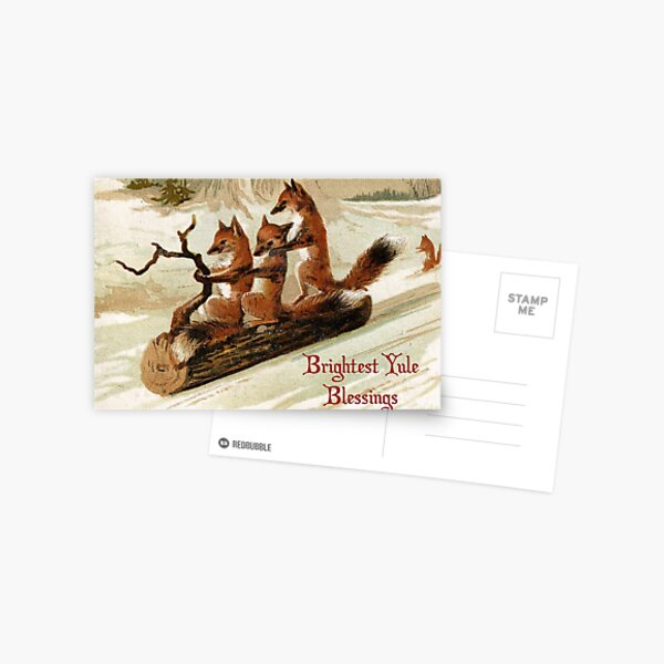 Victorian Sledding Foxes Solstice Greeting Postcard