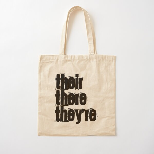 Their There They're Homophones Design Cotton Tote Bag