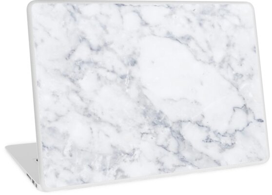 Quot White Marble Quot Laptop Skin By Mermaidnatalie Redbubble