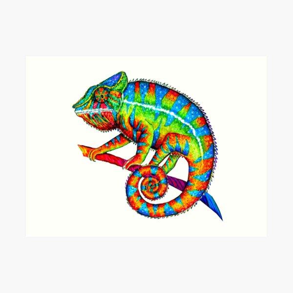 Colorful Rainbow Panther Chameleon Art Print