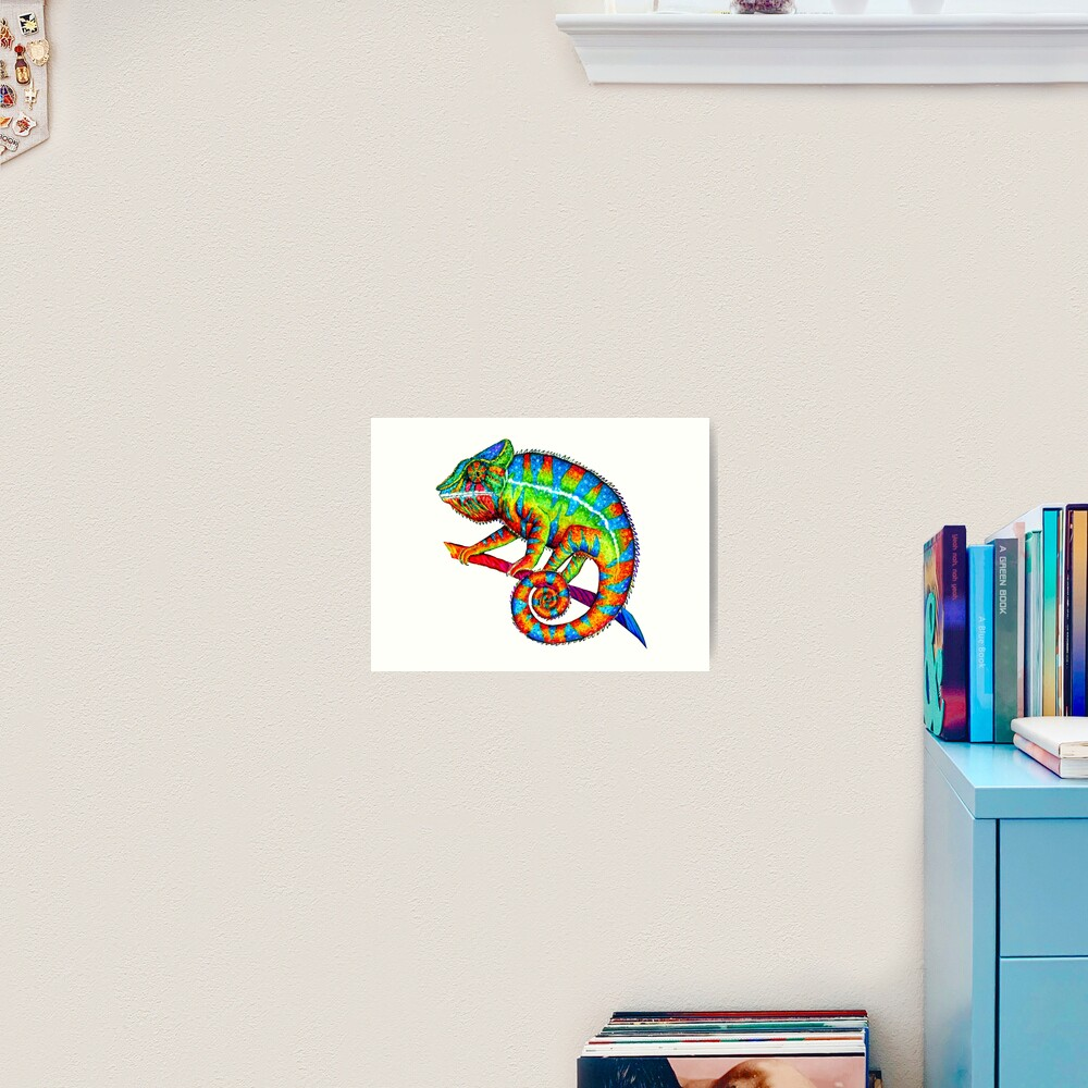 Colorful Rainbow Panther Chameleon Art Print