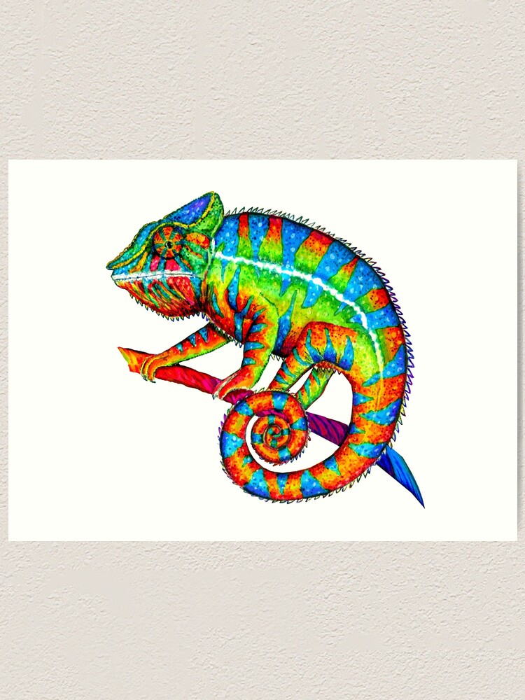 Alternate view of Colorful Rainbow Panther Chameleon Art Print