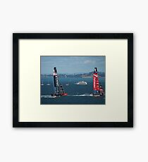 The America's Cup was a close race..... Framed Print
