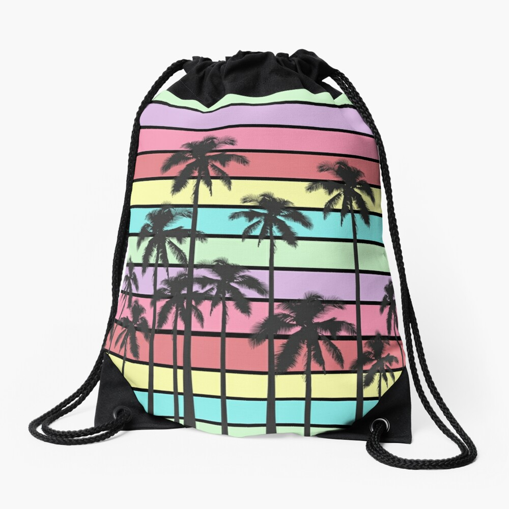 Colorful Summer Stripes with Tropical Palm Trees Drawstring Bag