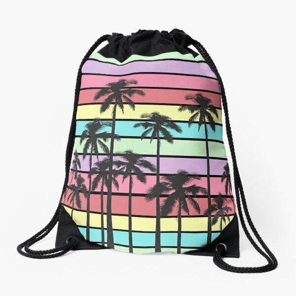 Rayures d'été colorées avec des palmiers tropicaux Sac à cordon