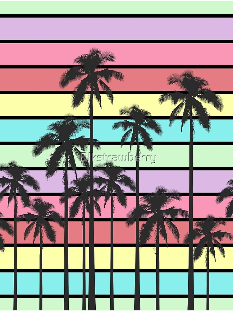 Colorful Summer Stripes with Tropical Palm Trees by Blkstrawberry
