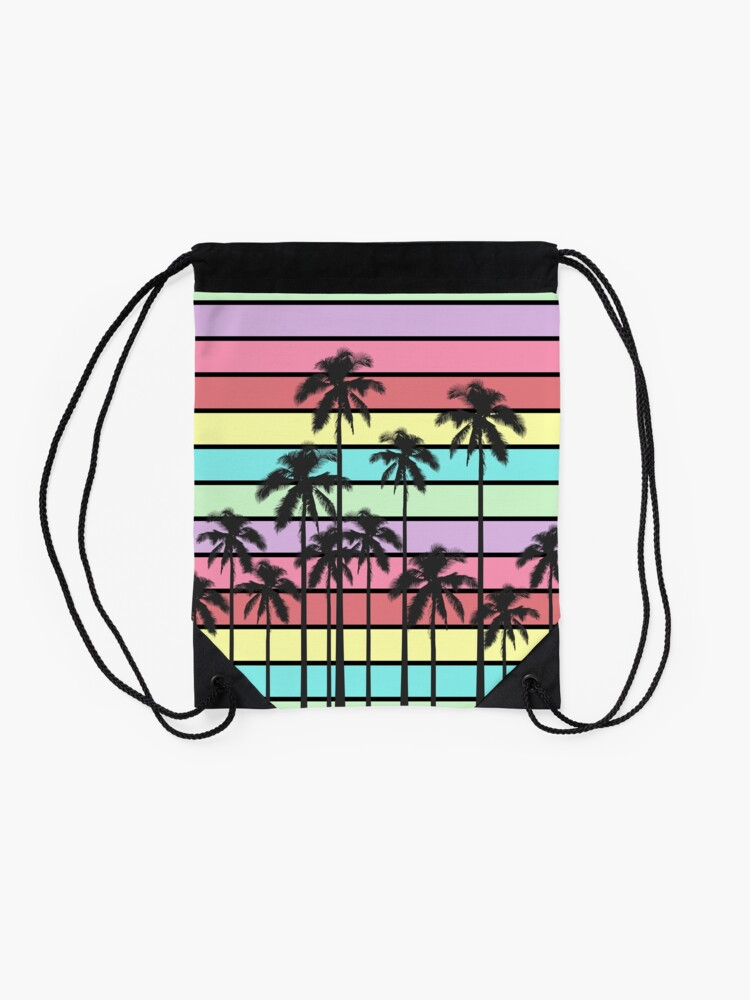 Alternate view of Colorful Summer Stripes with Tropical Palm Trees Drawstring Bag