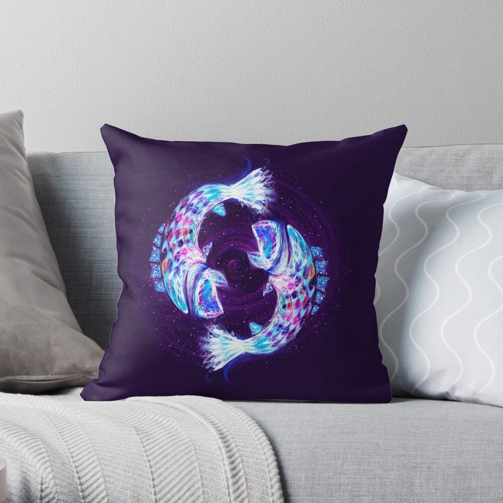 Pisces Zodiac Lightburst Throw Pillow