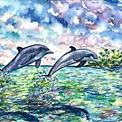 Dolphins at Play by mleboeuf