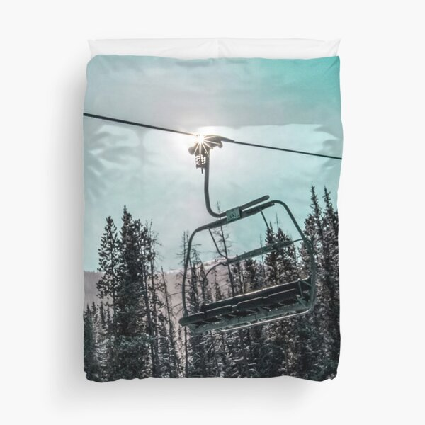 Empty Skilift // Dark Blue and Teal Snowboarding Dreaming of Winter Duvet Cover