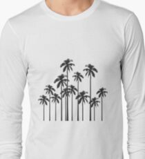 Black and White Exotic Tropical Palm Trees T-Shirt