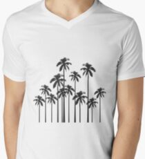 Black and White Exotic Tropical Palm Trees Men's V-Neck T-Shirt