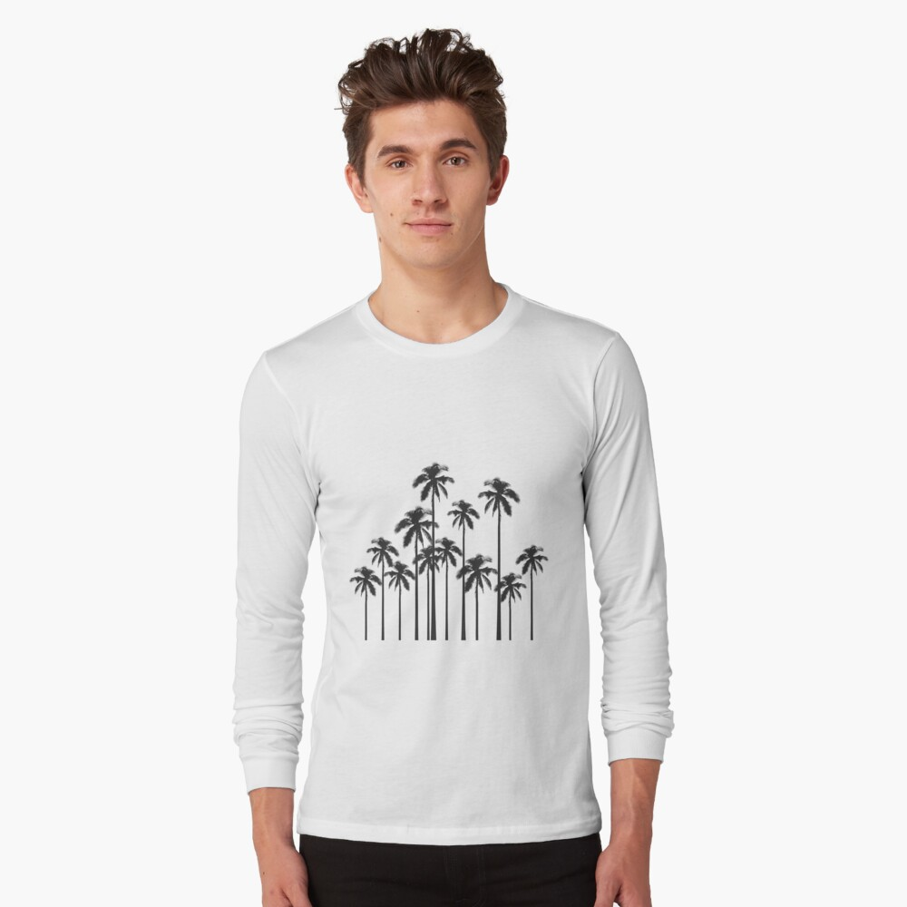 Black and White Exotic Tropical Palm Trees Long Sleeve T-Shirt