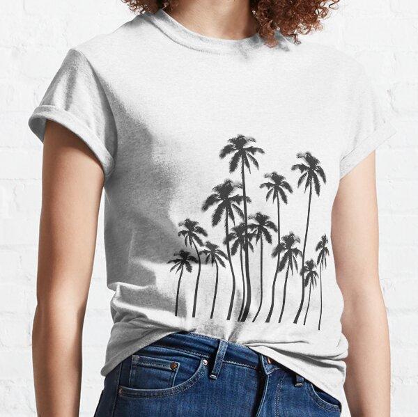 Palmeras tropicales exóticas en blanco y negro Camiseta clásica