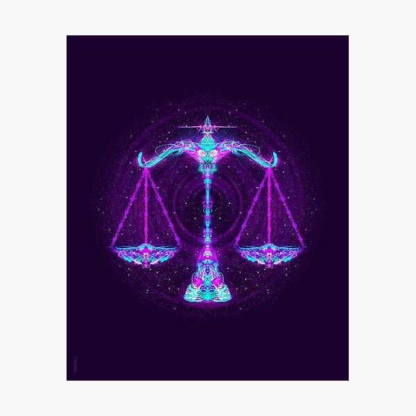 Libra Zodiac Lightburst Photographic Print