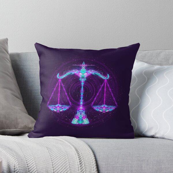 Libra Zodiac Lightburst Throw Pillow