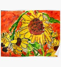 Crazy Daisey having a Hard Day, watercolor Poster