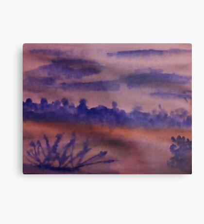 Desert Scene with Mountains in backround at dusk, watercolor Metal Print