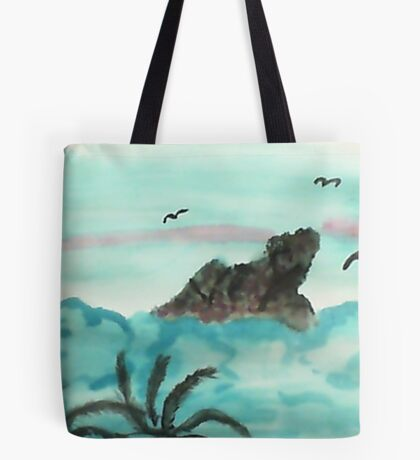 Dog Mountain Poking thru Clouds, watercolor Tote Bag