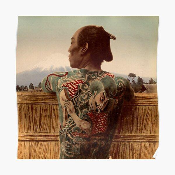 Tattooed Samurai with Mt Fuji Poster
