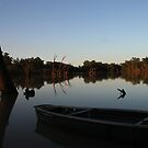 Boat at Sunset - On Balonne River by Michelle Munday