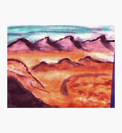 Desert with mountains and valley, watercolor Photographic Print