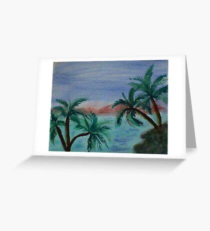 Enjoying sunset thru palm trees from palm tree series, watercolor Greeting Card
