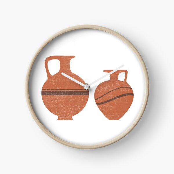 Minimal Abstract Greek Vase 20 - Oinochoe - Terracotta Series - Modern, Contemporary Print - Sienna Clock