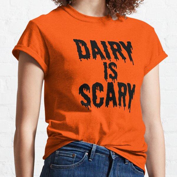 DAIRY IS SCARY - Vegan Halloween Costume - Black on Orange Classic T-Shirt