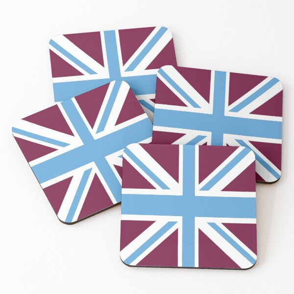 West Ham Claret & Sky Union Jack Flag Coasters (Set of 4)