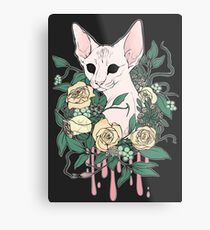 Light Floral Feline Metal Print