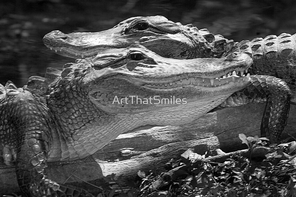 """Happy Gators"" - alligators in the Florida Everglades by ArtThatSmiles"
