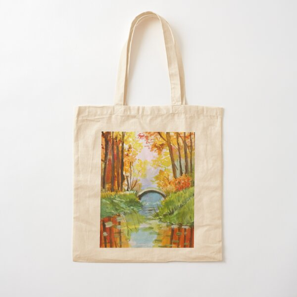 Beautiful Fall Bridge Reflections Cotton Tote Bag