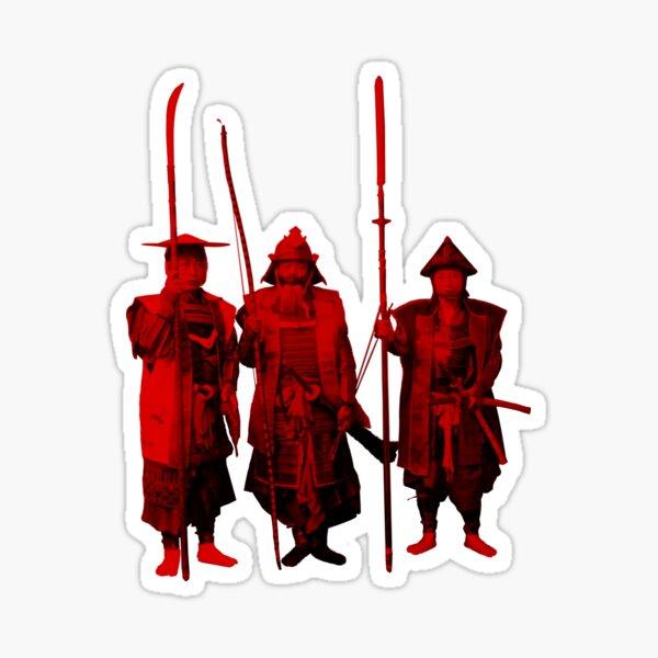 3 Red Samurai Sticker