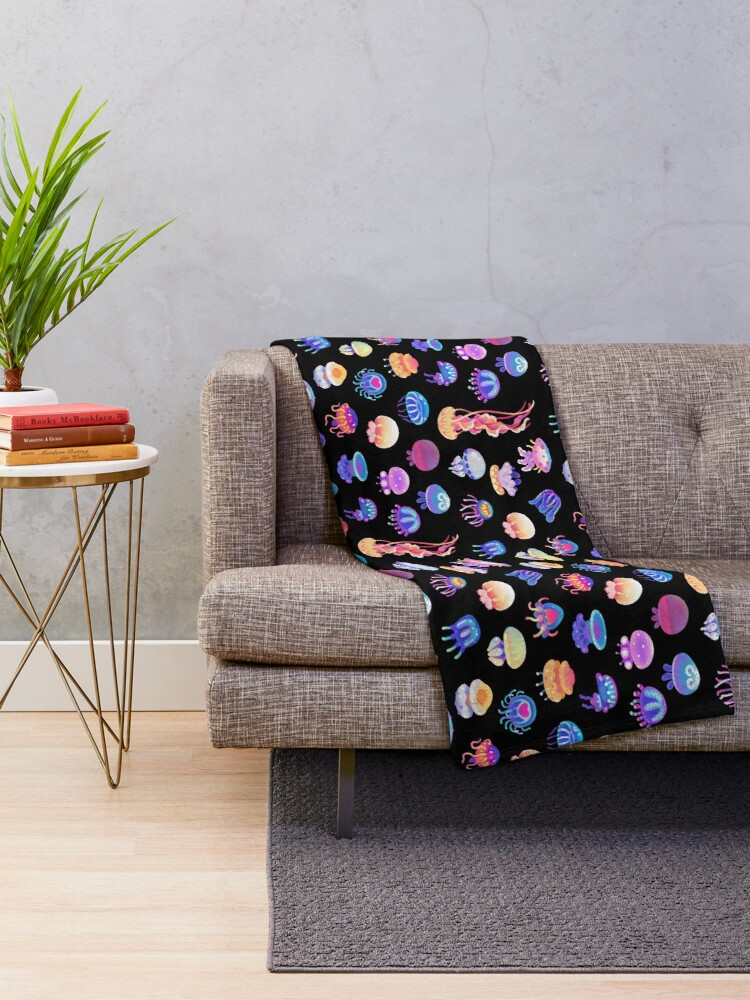 Alternate view of Jellyfish Day Throw Blanket