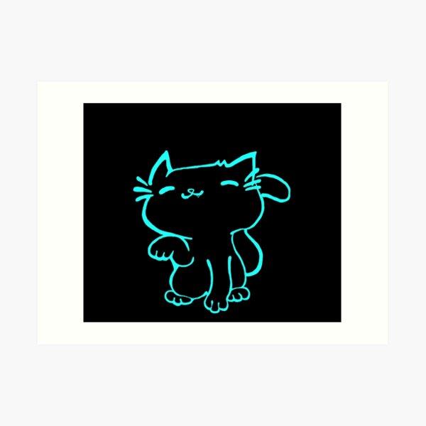 Kitty Cool Turquoise Cat Art Print
