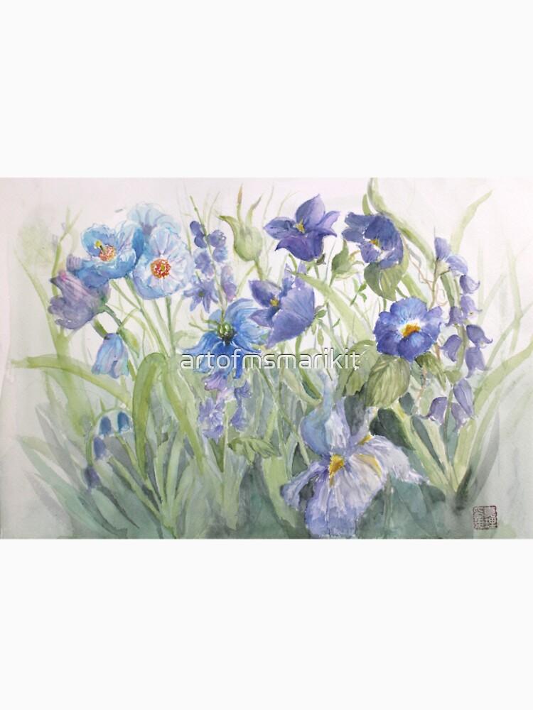 My Pretty Blue Garden Flowers by artofmsmarikit
