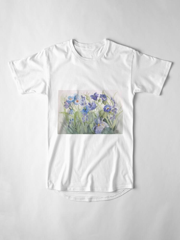 Alternate view of My Pretty Blue Garden Flowers Long T-Shirt