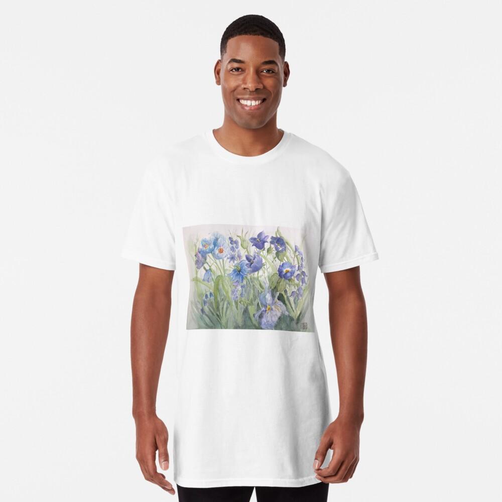 My Pretty Blue Garden Flowers Long T-Shirt
