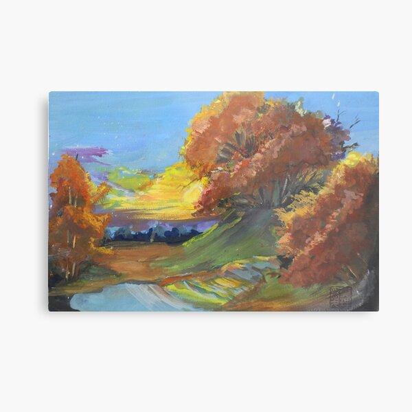 Autumn Sunset Scene Metal Print