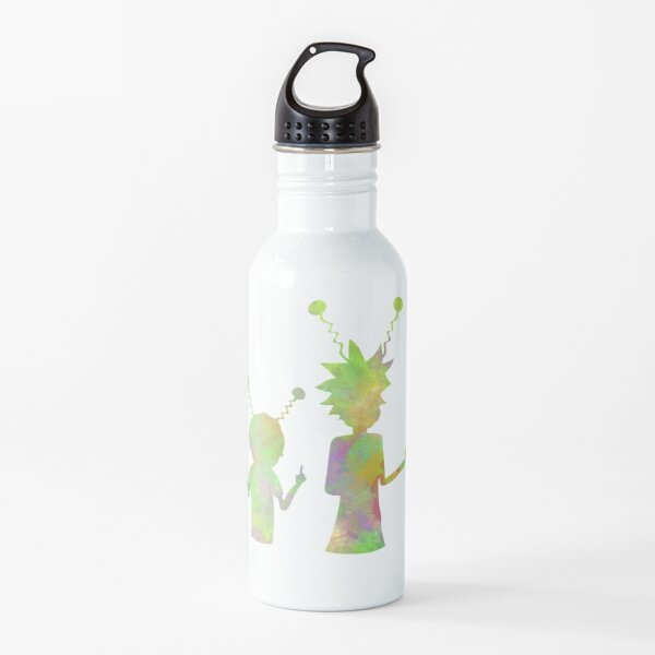 Rick and Morty silhouette - Peace among worlds  Water Bottle
