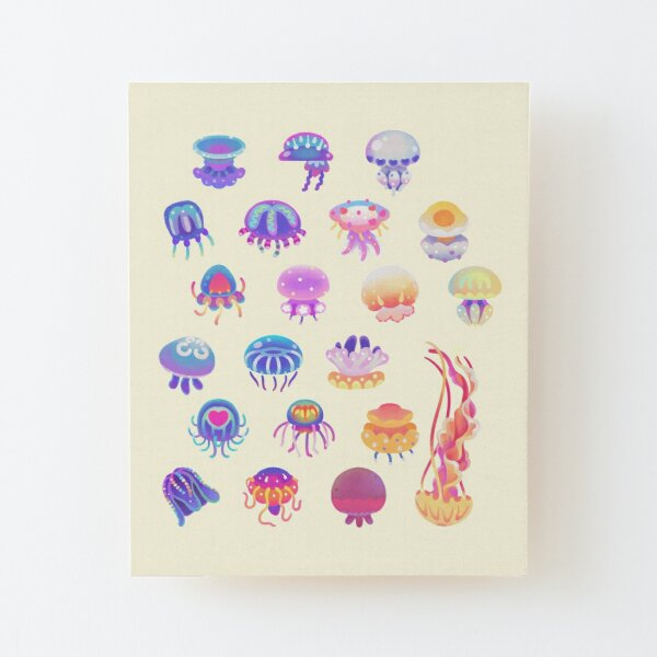 Jellyfish Day - pastel Wood Mounted Print