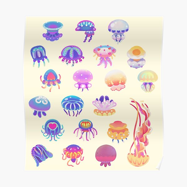 Jellyfish Day - pastel Poster