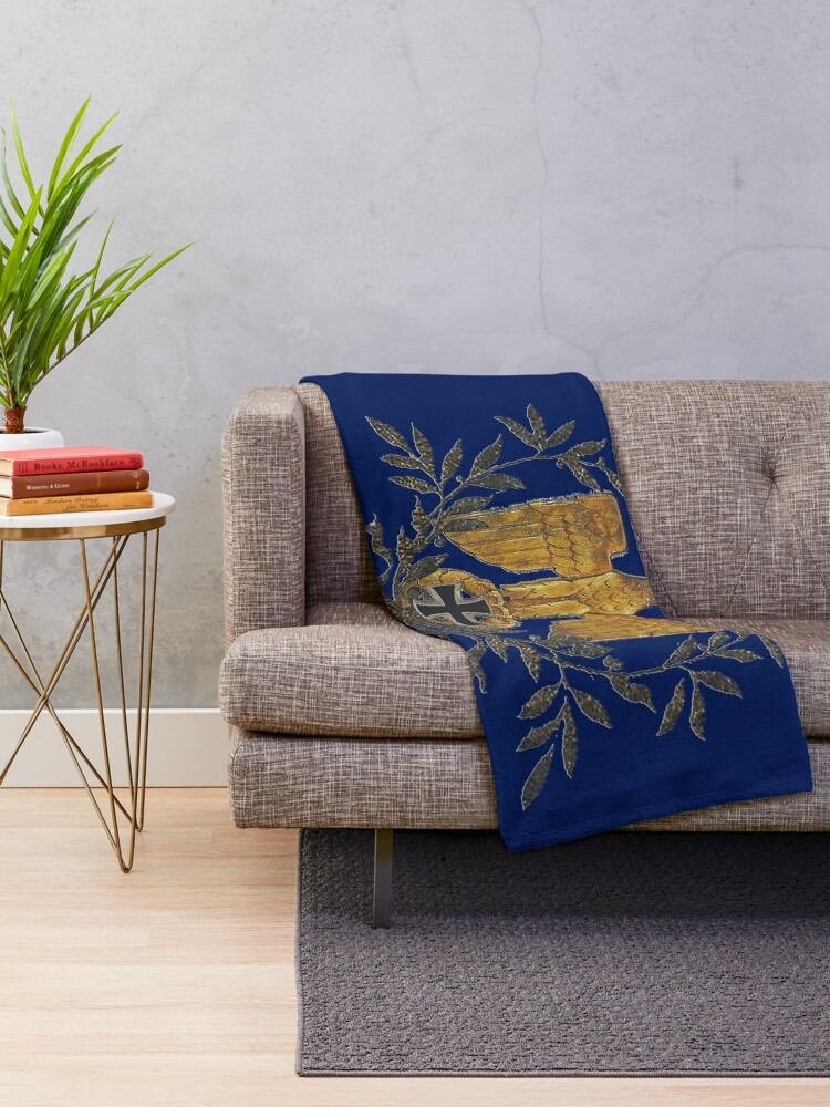 Alternate view of Gold Eagle with Iron Cross  Throw Blanket