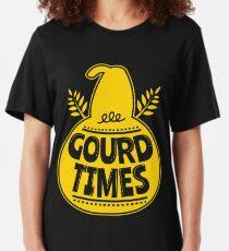 Thanksgiving Pumpkin Gourd Times Slim Fit T-Shirt