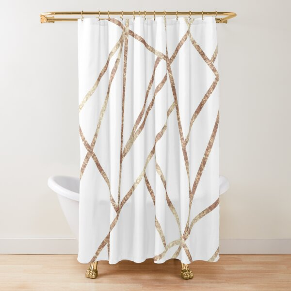 Classic White Rose Gold Geo #1 #geometric #decor #art Shower Curtain