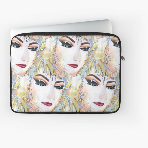 Watercolor Chic Artistic Female Portrait in Pop Surrealism Contemporary Abstract Style Laptop Sleeve