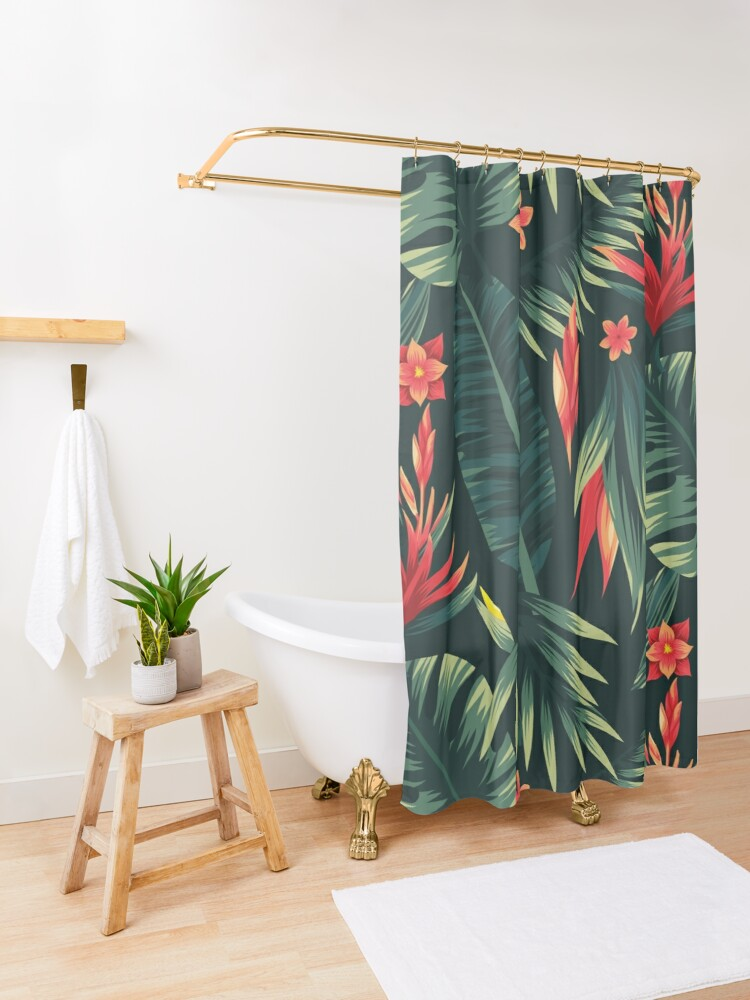 Alternate view of tropical v Shower Curtain